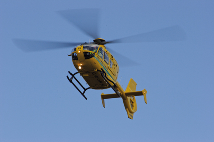 Somerset and Dorset Air ambulance in flight