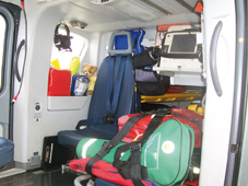 Equipment inside the somerset and dorset air ambulance