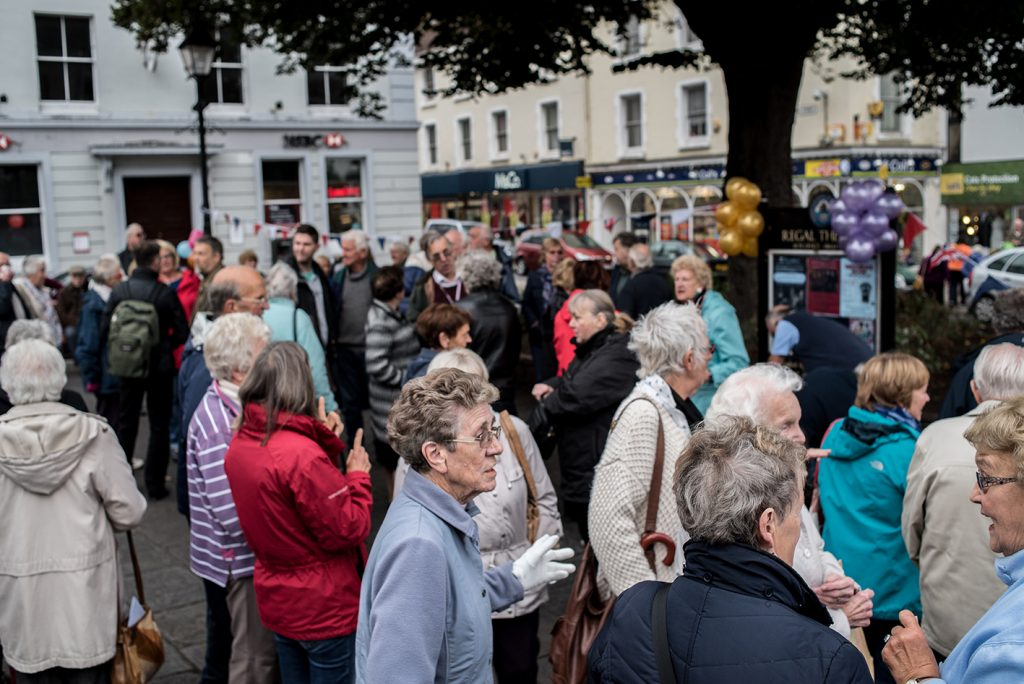 A large crowd gathers in Wellington Square Minehead to sign a petition and show their support for the Save Our Buses campain. Photo: Andrew Hobbs