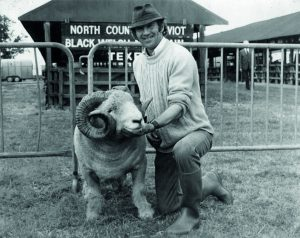 Gerald with Jack Burge's ram at the Royal Show, Stoney, 1970.