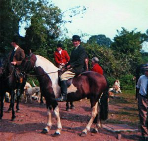 Gerald out with the D&S in 1976, pictured here at Lower Badgworthy Crossing (the hunt met that day at Exford).